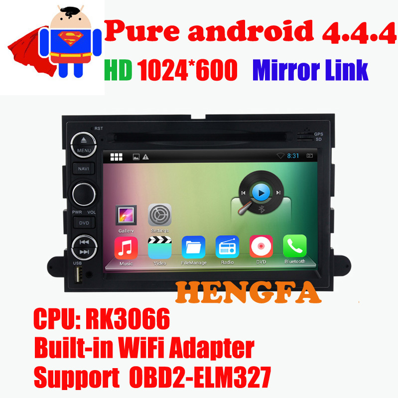 Pure Android 4.4 Car DVD Player 1024*600 For Ford Mustang / Expedition with Radio BT RDS Video GPS Navi Quad core Optional(China (Mainland))