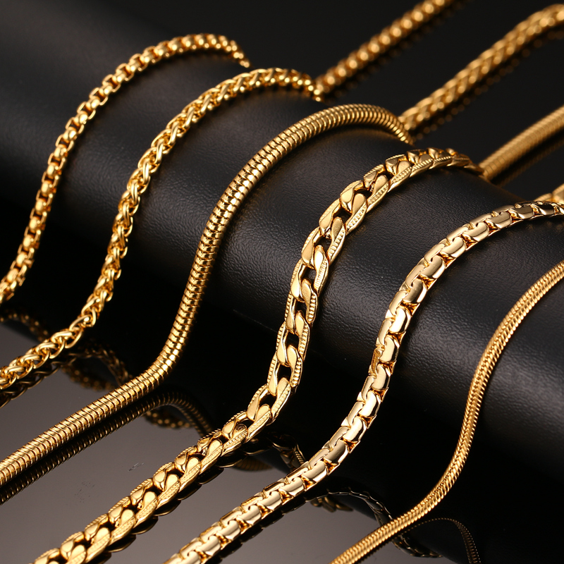 18K Gold Plated Chain Necklace For Men Women Stainless Steel Snake Chain 24inch Wholesale DIY Long Chain(China (Mainland))