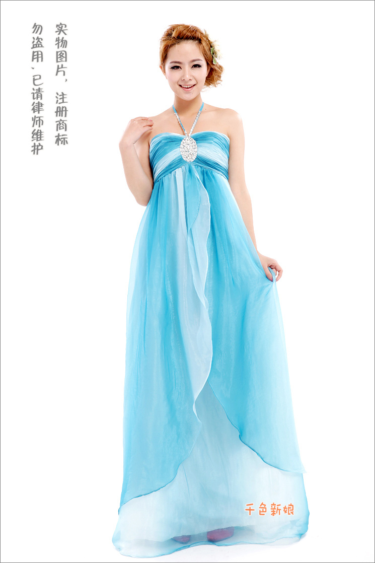 Colour Bride Blue Gradient Color Formal Dress Wedding