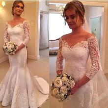 Ivory Mermaid 3/4 Length Sleeve Lace Wedding Dress With Lace Applique 2016 New Arrival(China (Mainland))