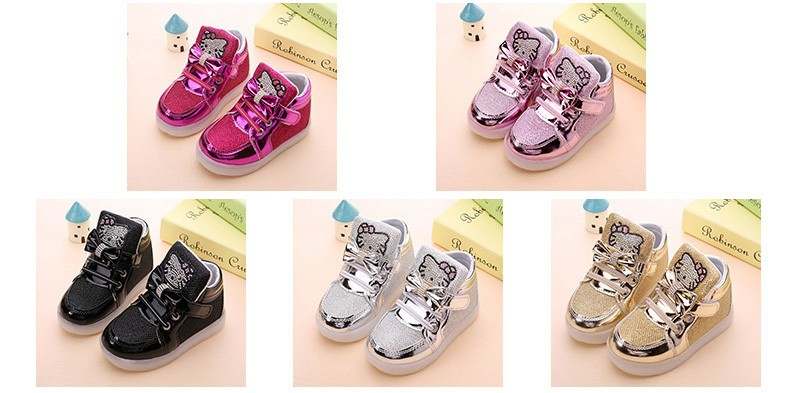 New Girls shoes baby Hook Loop led shoes kids light up glowing sneakers Girls princess children shoes with light Flashing lights