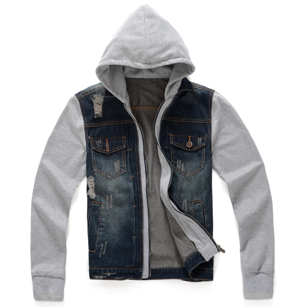 Denim Hooded Jacket Outfits - Sweater Grey