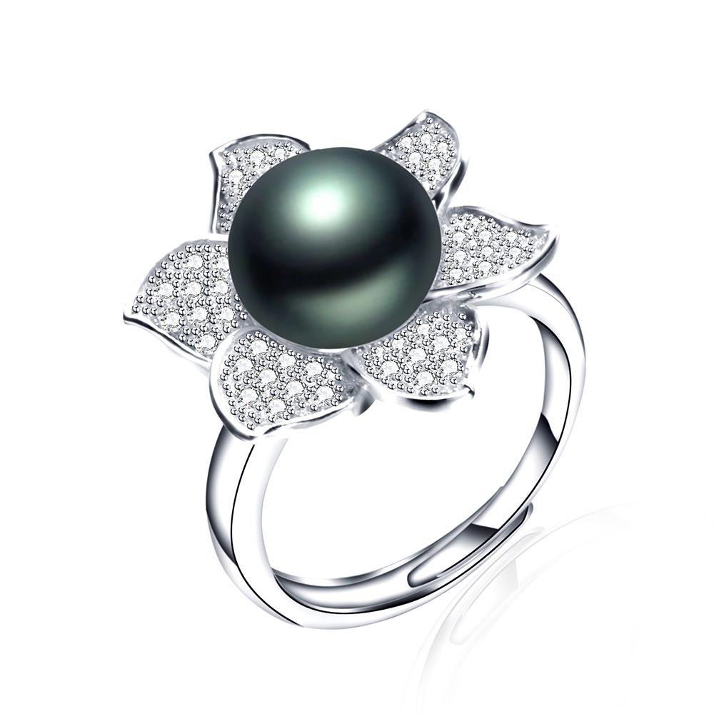 VEAMORE 925 Sterling Silver Rings Round Shape Radiant Elegance, Clear CZ Flower Rings For Women Big Size Black Pearl Jewelry(China (Mainland))