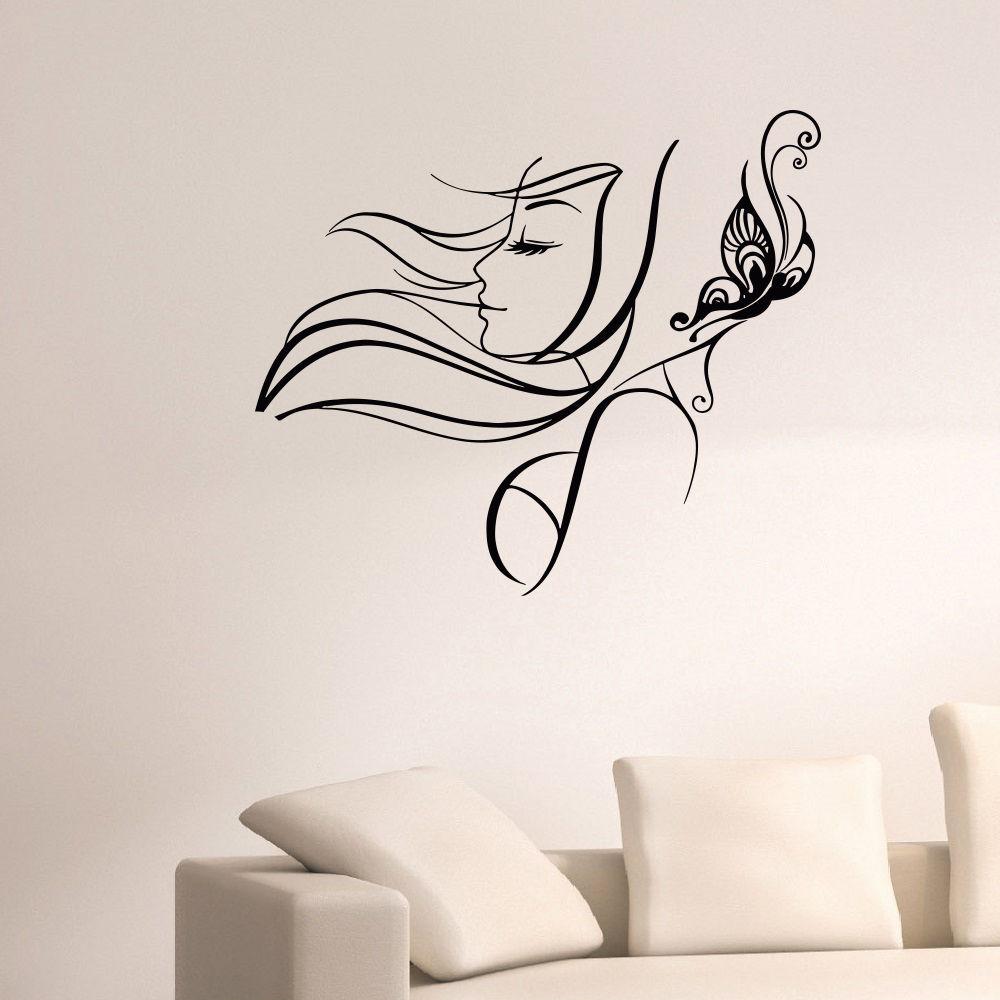 Buy salon sticker decal hair barber shop posters vinyl wall art decals hair cut - Sticker on wall decor ...
