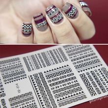 1 pc Tribal Geo Pattern Nail Water Decals Black Grid Transfer Stickers Nail Art Sticker YE-314 #21576(China (Mainland))