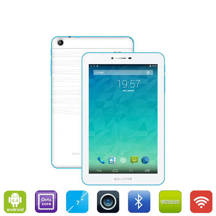 New Built in 3G Colorfly G708 MTK6592 Octa core 3G Phone call table 7 inch IPS OGS Screen 1280x800 1G 8G Android 4.4 GPS Tablet(Hong Kong)