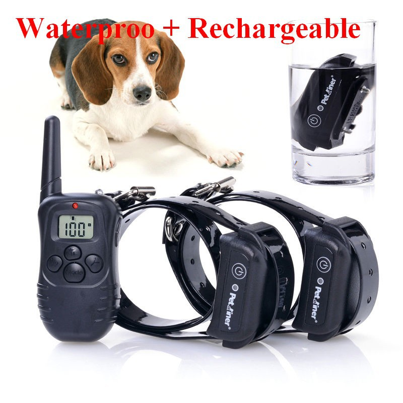 100% Waterproof Rechargeable LCD Electronic Shock Remote Dog Training Collar Electric Pet training collar Pet Trainer for 2 dogs(China (Mainland))