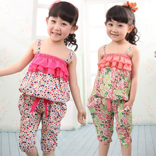 Free Shipping 2015 Summer New Children Clothing Sets Baby Girls Spaghetti Strap Top Twinset Harem Pants