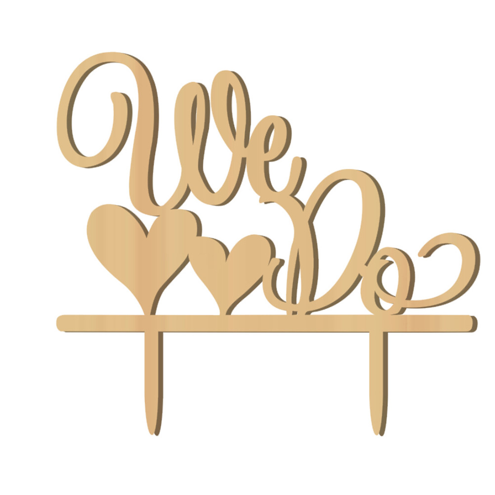 2018 Wholesale Romantic Double Heart Shaped We Do Wooden Wedding ...