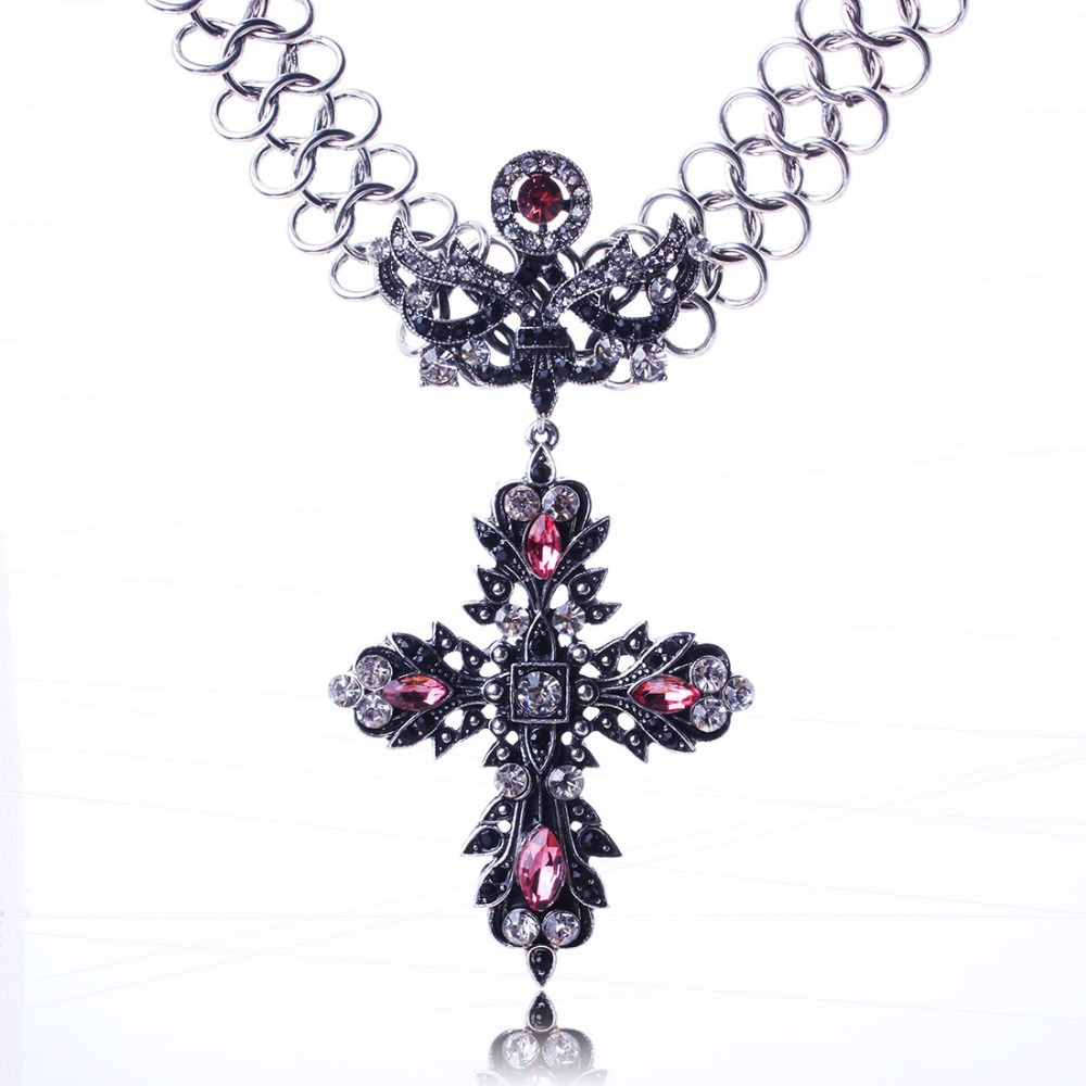 New Arrival Vintage Jewlery Crystal Cross Pendant Necklace Wholesale Price For Lady XL5585