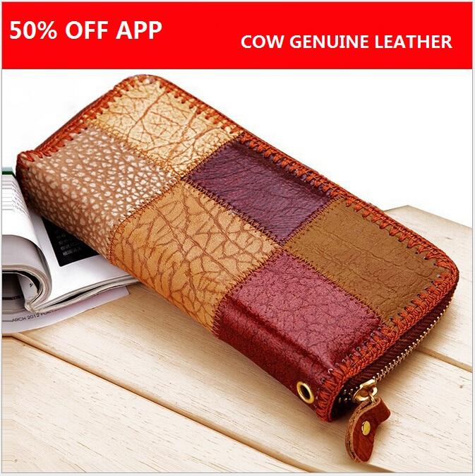 Best Selling Genuine Leather Wallet Elegant Plaid Color Matched Girl Envelope Bag Cow Leather Women Wallets Color by Random H176<br><br>Aliexpress