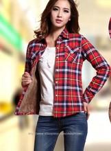 2015 Winter New Plus Velvet Thick Warm Plaid Shirt Sleeved Women'S Plaid Blouse Z1265(China (Mainland))