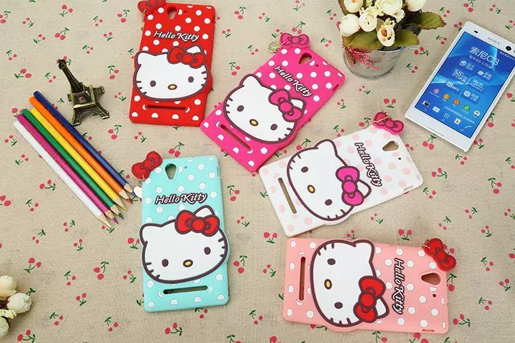 Good quality For Sony Xperia C3 S55T D2533 phone Case back cover mobile cellphone shell cute cartoon hellokitty lovely silicon(China (Mainland))