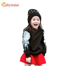3-10 Y 2016 Fashion Teens Boys Girls unisex sweater Child spring Wings 3d sweater Big Child clothe(China (Mainland))