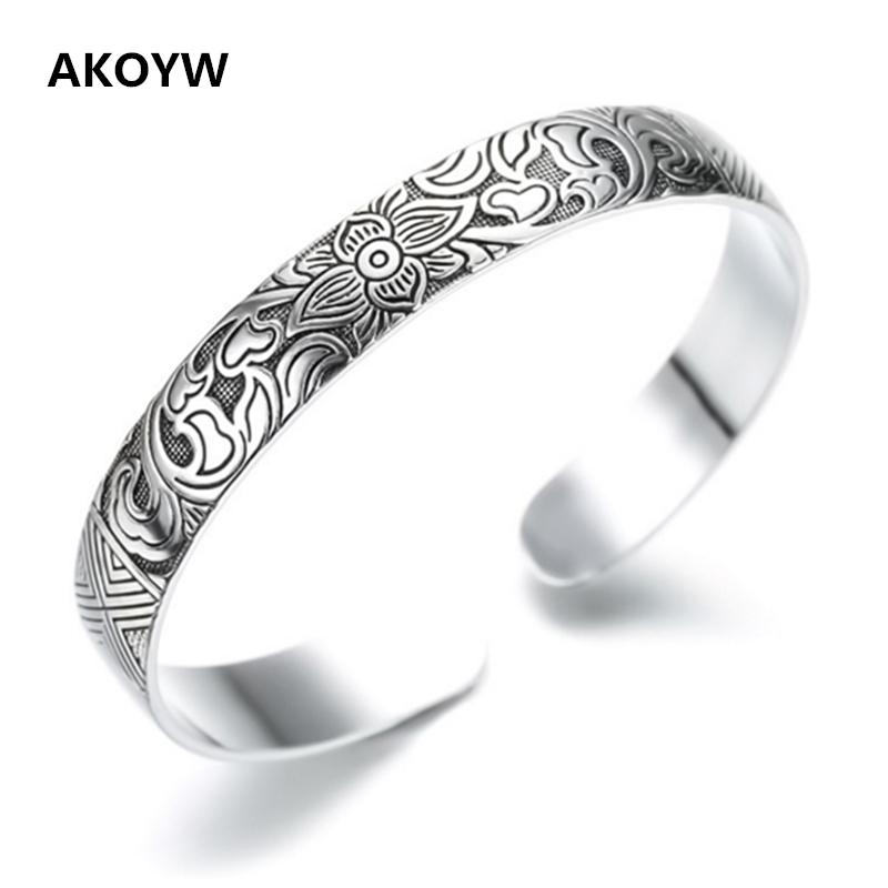 Lotus Thai Silver plated retro silver leaf black bracelet Men Women New jewelry fashion retro high-quality Bangles(China (Mainland))