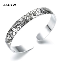 Buy Lotus Thai Silver plated retro silver leaf black bracelet Men Women New jewelry fashion retro high-quality Bangles for $2.40 in AliExpress store