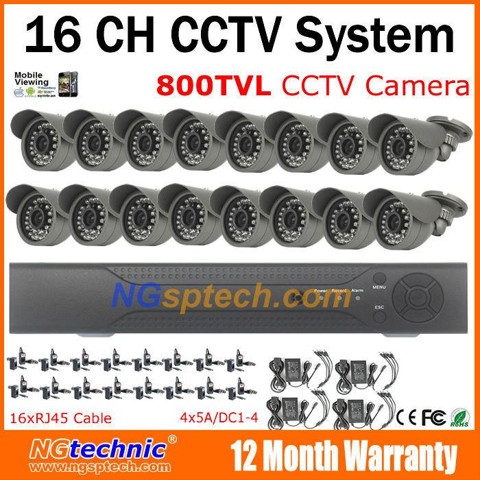 Здесь можно купить  Free shipping! 800TVL waterproof IR Night vision surveillance CCTV Camera 16CH motion detect support iphone android view DVR Kit  Безопасность и защита