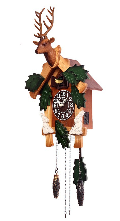 Colorful cuckoo clock with deer head in wall clocks from home garden on - Colorful cuckoo clock ...