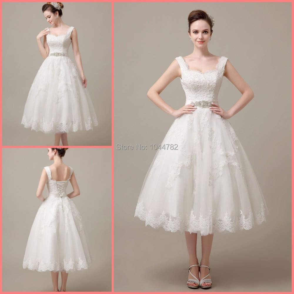 Custom 2015 elegant lace mid calf lace short wedding dress for Wedding dress for a short bride