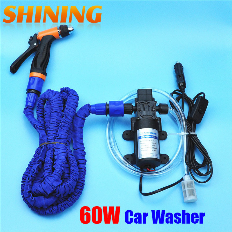 12V 60W New Car Washer Washing Device Machine, High Pressure Garden Household Washer Sprayer Cleaner With 25FT Expandable Hose(China (Mainland))