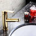 Bathroom Sink Faucets Gold Color Pull Out Spray Single Hole Deck Mounted Waterfall Hot and Cold