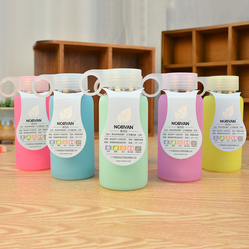 High Quality 220ML colorful Popular brands water bottle Silicone Case glass bottle Korea Style Sport Water Bottle jelly cup(China (Mainland))
