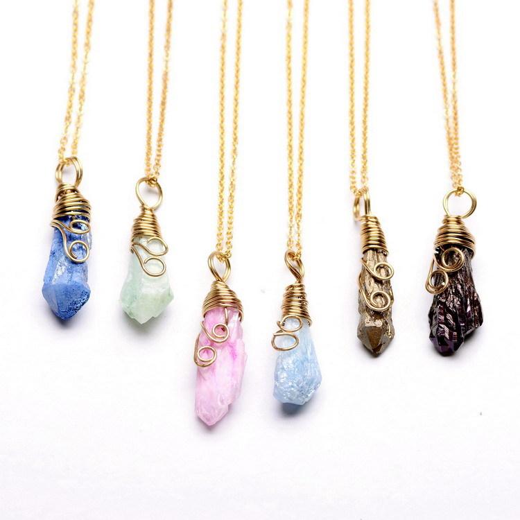2015 elegant colorful unique natural stone necklace blue