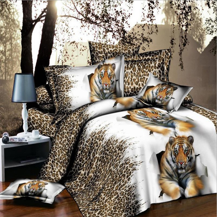 3D Animals Flowers Bedclothes Quilt / Duvet Cover Sets Double Bed 4pcs / Fashion Bedding Set King / Queen Size HBS064(China (Mainland))