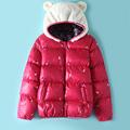 2016 autumn winter women warm heart embroidery jacket female cat ear jacket cotton padded for elegant