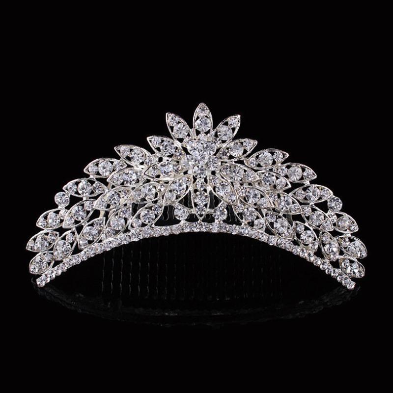 fashion tiaras e acessorios elegant wedding rhinestone tiara bride flower hair combs(China (Mainland))