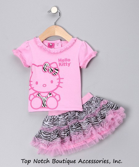 2014 Summer New Children Girl's 2 pic Hello Kitty cute girl Set baby Clothing sets dots skirt pants girls clothes(China (Mainland))