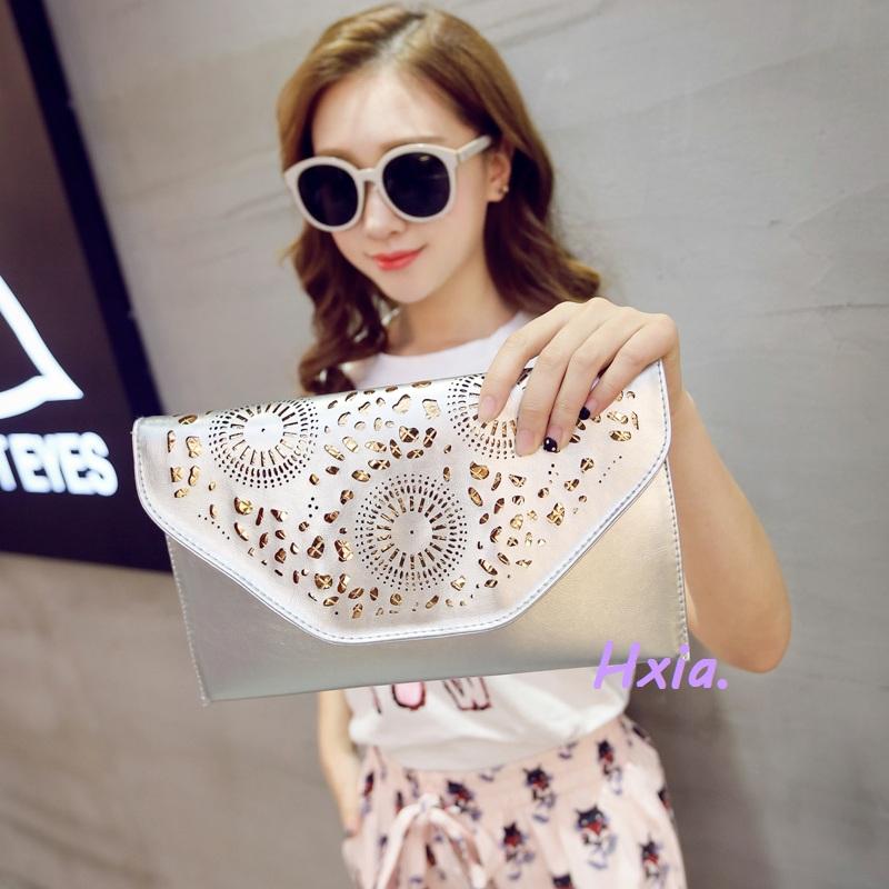 Free shipping, 2016 new women bag, han edition hollow out hand bag, trend chain envelope bag, fashion handbags, messenger bags.(China (Mainland))