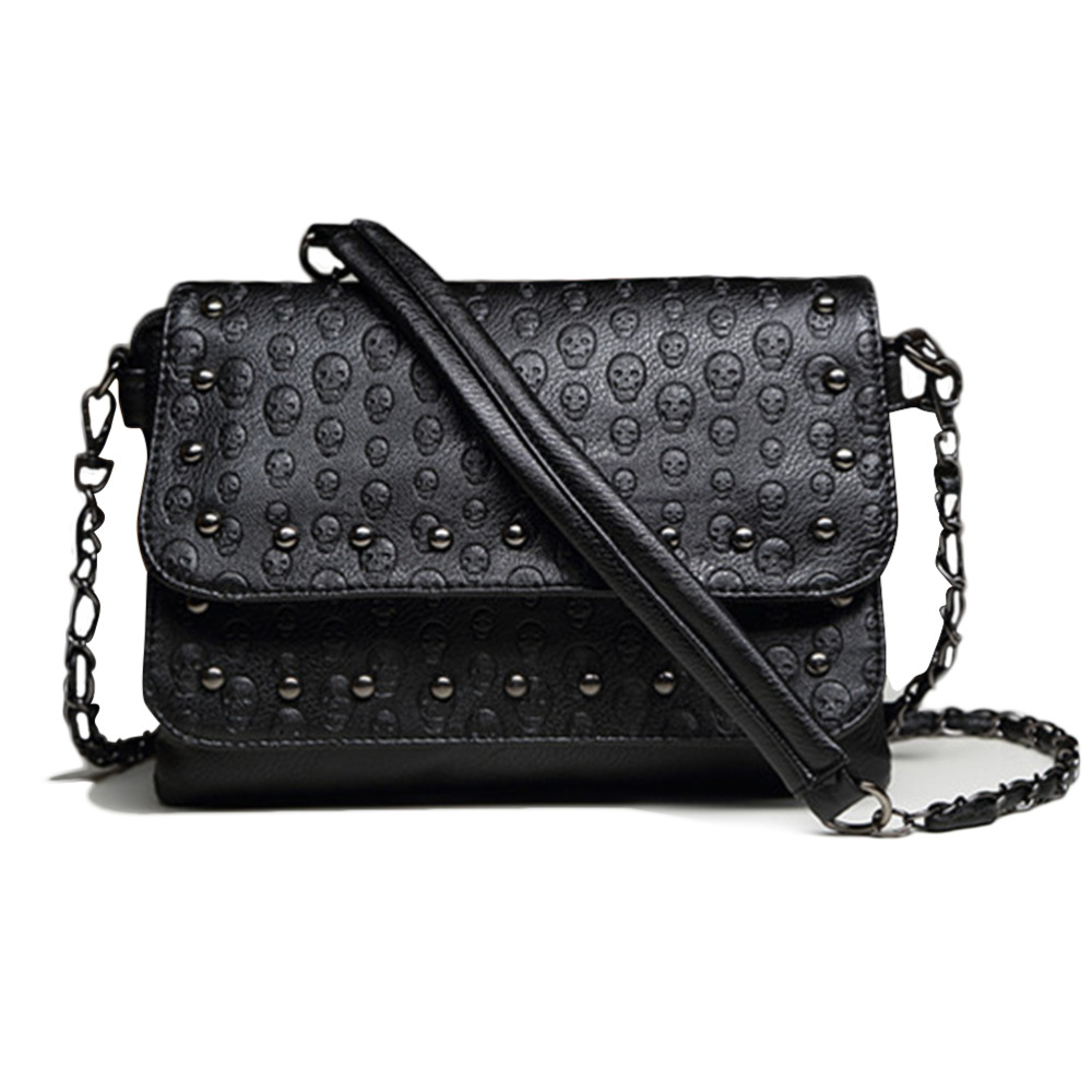 2016 Women Vintage Shoulder Bags PU Leather Skull Crossbody Bag Solid Zipper and Hasp Messenger Bags Fashion Ladies Chain Bags(China (Mainland))