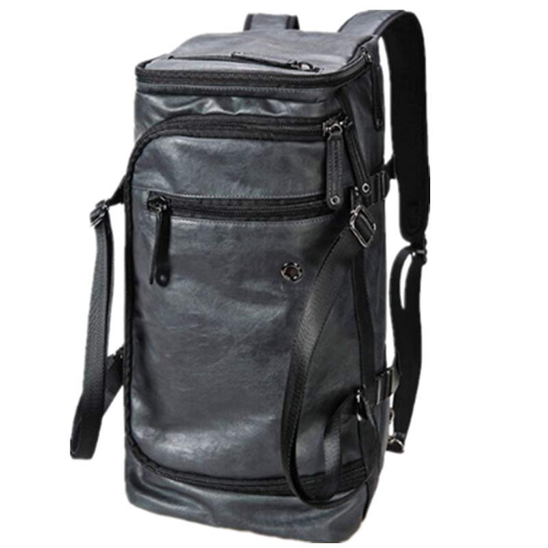 "20"" BLACK SUEDE VINTAGE 2 in 1 DUFFEL BAG RETRO BACKPACK ERGONOMIC PADDED BACK PANEL TRAVEL TOTE BAG"