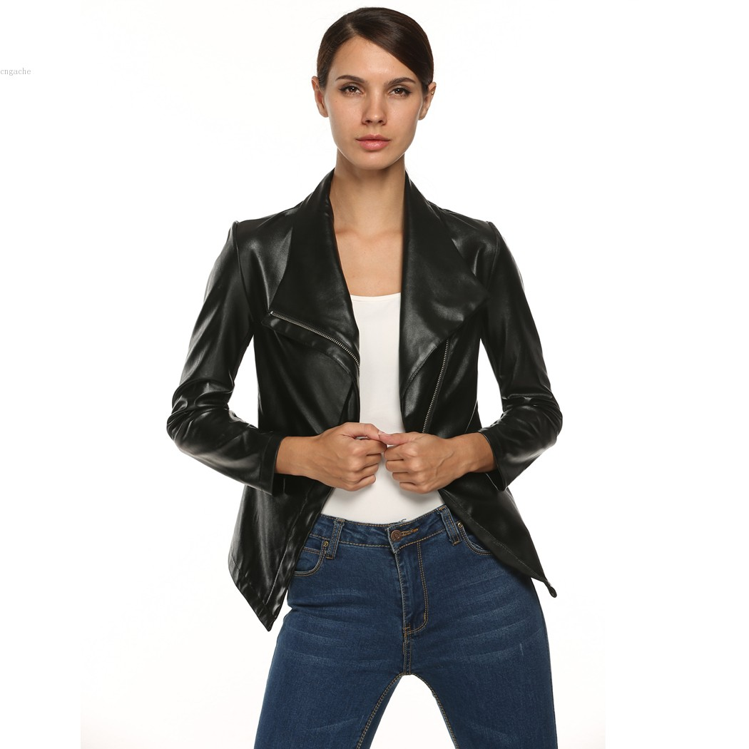 Fashion Mandarin Collar Womens Jackets Black White Leather