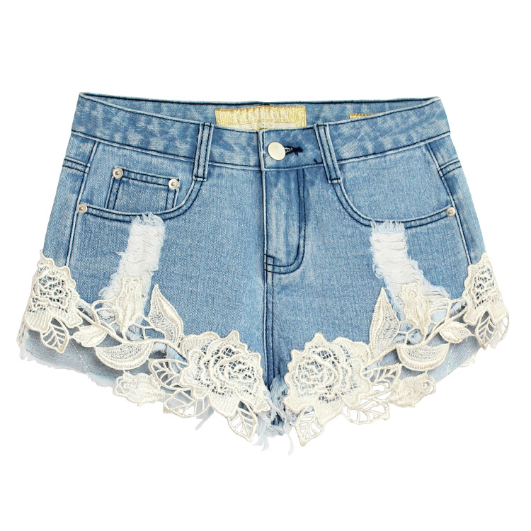 Boyfriend For 0new Summer Women Fashion Denim Shorts Pearl Lace Flowers Style Lady Casual Short Jeans Hollow Out Vintage Cotton(China (Mainland))
