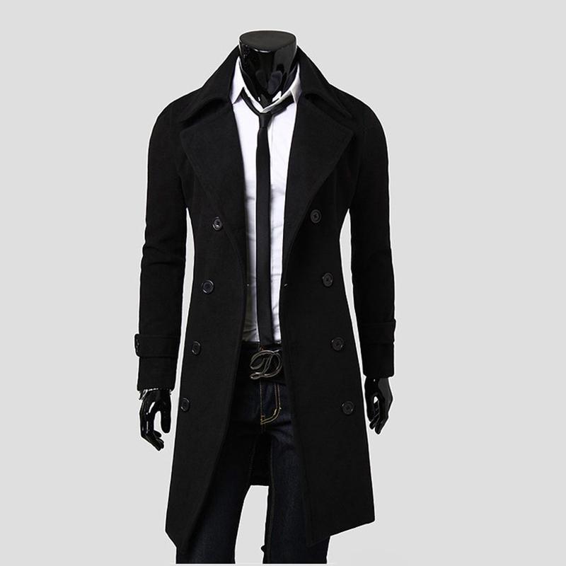 2015 New Autumn&Winter Men's Korean Slim Fit Fashion Windbreaker Turn-Down Collar Casual Formal Men's Woolen Coats Jackets(China (Mainland))