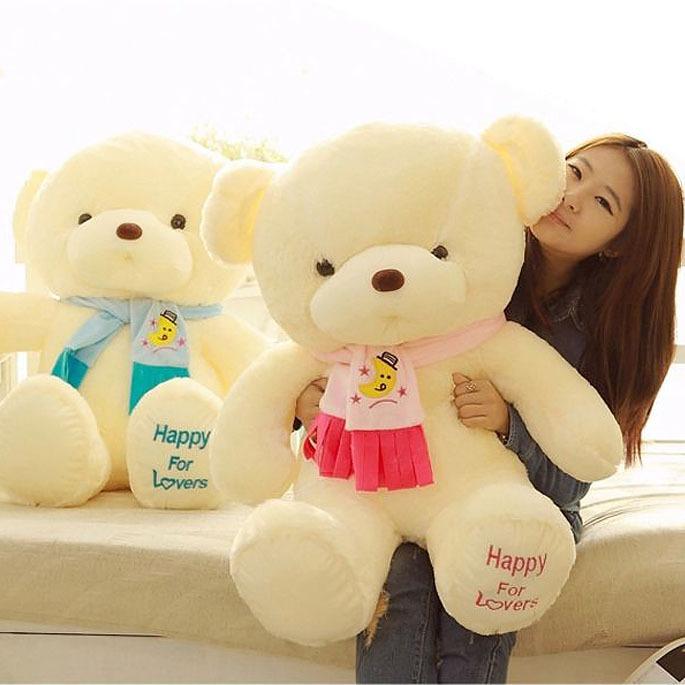 Free Shipping Girls Stuffed Animal Toys Kids Scarf Honey Bear Dolls Ladies Cute Plush Toys Valentine Birthday Gifts Toys 45cm(China (Mainland))