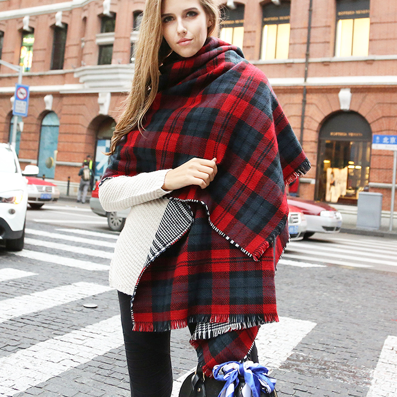 2015 scarf female autumn and winter thickening big scarf cape dual-use ultra long thermal fashion scottish plaid scarf(China (Mainland))