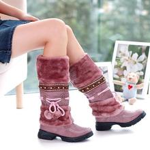 2013new estilo otoño invierno cálido zapatos baratos de la alta hacer punto botas de nieve artificial de cuero matorral ocasional femeninos vendaje mitad de la pantorrilla zapatos(China (Mainland))