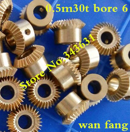 2PCS 0.5M30T Bevel Gear 0.5 Mod M=0.5 Modulus Ratio 1:1 Bore 6mm Brass Right Angle Transmission parts machine parts DIY(China (Mainland))