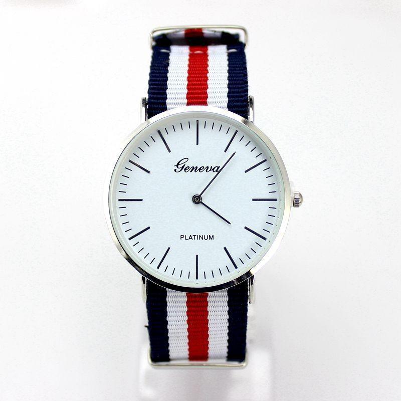 2016 Новый Элегантный Стиль Мода Часы Женщины Мужчины Ремешок Из Ткани Простые Сюжетные Наручные Часы Дамы Популярные Часы Relogio FeМиниno