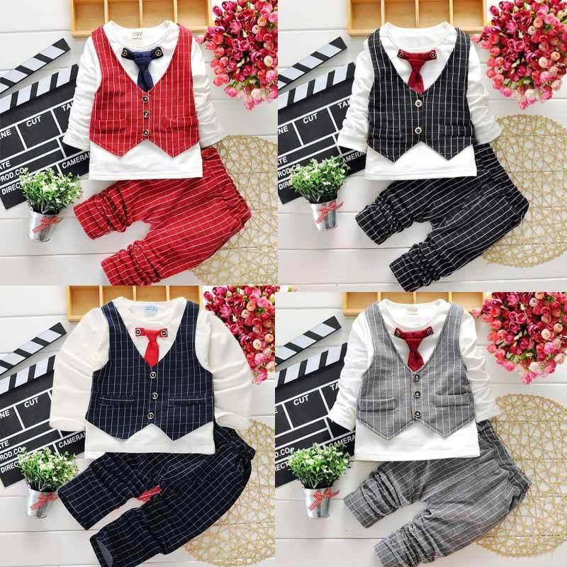 2016 2pcs Baby Boy Tie Gentleman Coat+Romper Kids Bodysuit Suit Set Toddler Clothes<br><br>Aliexpress