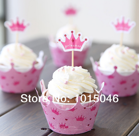 Free Shipping 60 Sets Pink Princess Crown Cupcake Wrappers Decoration Birthday Party Favors Crown Toppers Picks Supplies Stand(China (Mainland))