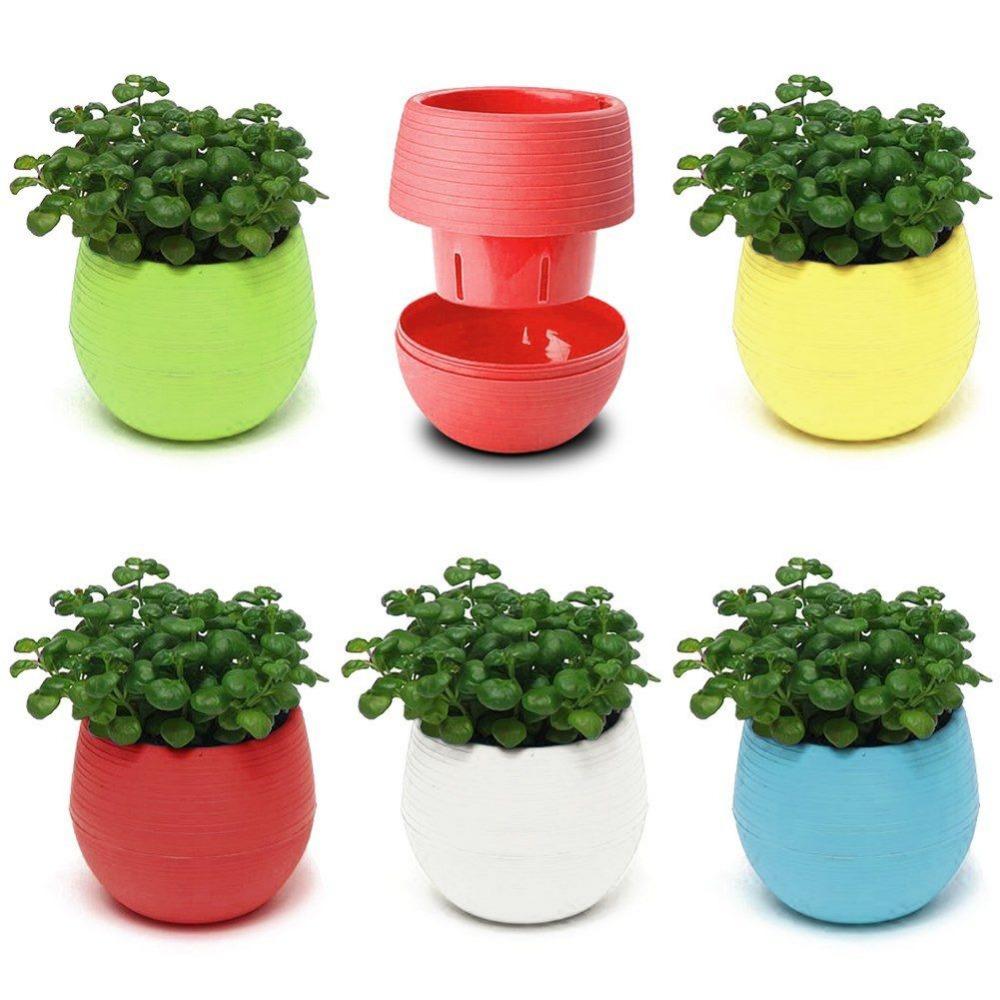 Colorful decorative flower pots gloss plastic plant for Garden pots
