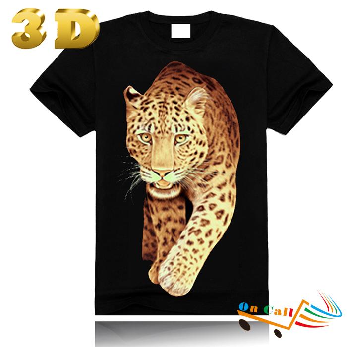 2014 Men Clothes 3D T Shirt 100% Cotton T-shirt Women Animal Leopard Tiger Print Funny T Shirts 3D Top Tee Men T Shirt Clothing(China (Mainland))