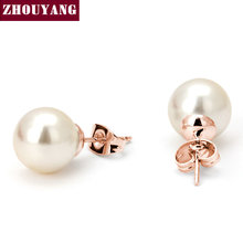 Buy Top ZYE240 Simulated-peart Earring Rose Gold Color Stud Earrings Jewelry Austrian Crystal Wholesale for $1.41 in AliExpress store