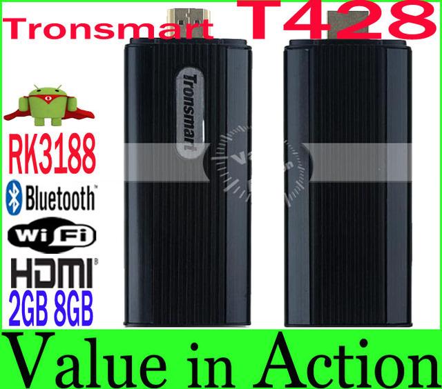 New Arrival Tronsmart T428 RK3188 Quad Core Mini TV Box Android 4.2 Smart TV Stick 2GB RAM 8GB ROM Broadcom AP6330 BT Wifi