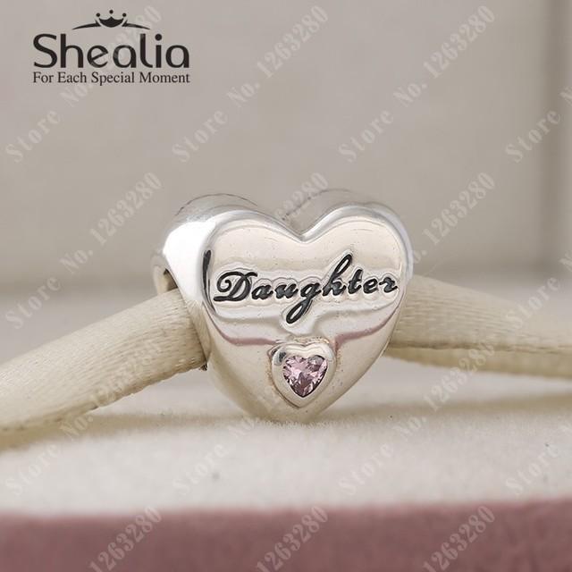 2015 осенью новый дочери любовь шармов сердца с розовым CZ оригинал 925 прекрасно Shealia ювелирные изделия подходит DIY браслеты
