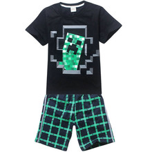 New 2015 brand cartoon children clothing set plaid kids shorts t shirts boys 2pcs sport suit